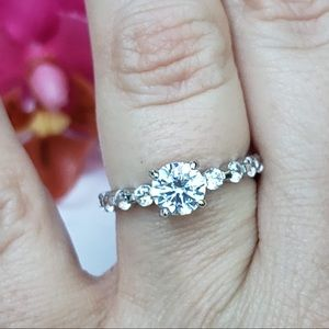 Sterling Silver lab diamond engagement ring size 7